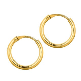 14k Yellow Gold Polish Finished 10mm Endless Hoop Earrings With Hidden Snap Backs