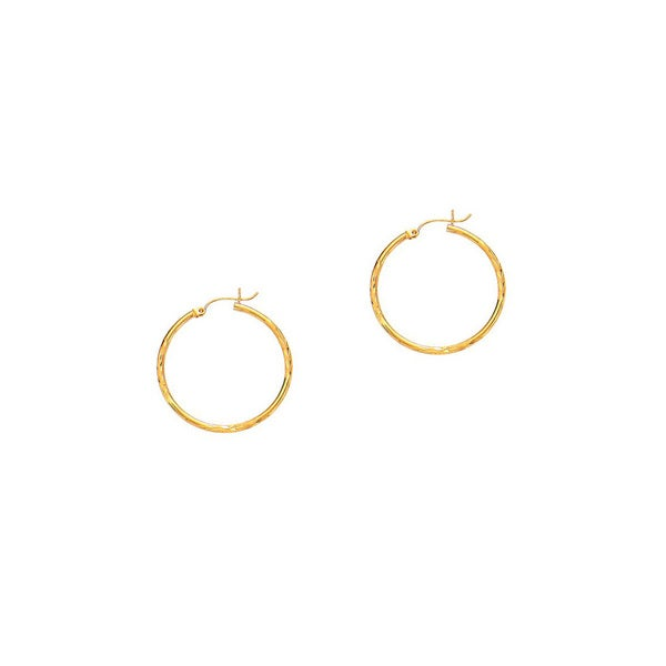 14k Yellow Gold Polish Finished 15mm Diamond Cut Hoop Earrings With Hinge With Notched Closure