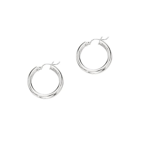 14k White Gold Polish Finished 15mm Hoop Earrings With Hinge With Notched Closure