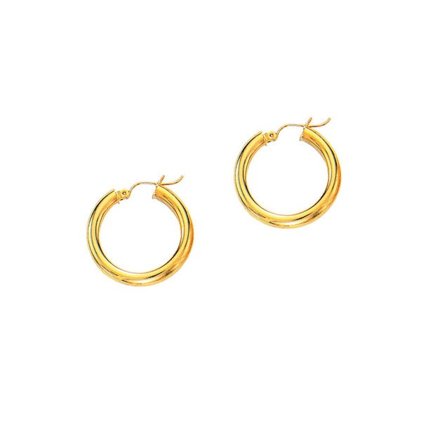 14k Yellow Gold Polish Finished 15mm Hoop Earrings With Hinge With Notched Closure