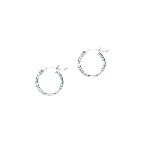 14k White Gold Polish Finished 20mm Hoop Earrings With Hinge With Notched Closure