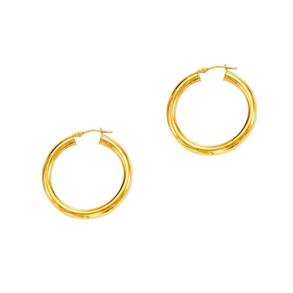 14k Yellow Gold Polish Finished 20mm Hoop Earrings With Hinge With Notched Closure