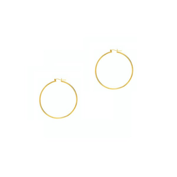 14k Yellow Gold Polish Finished 30mm Hoop Earrings With Hinge With Notched Closure