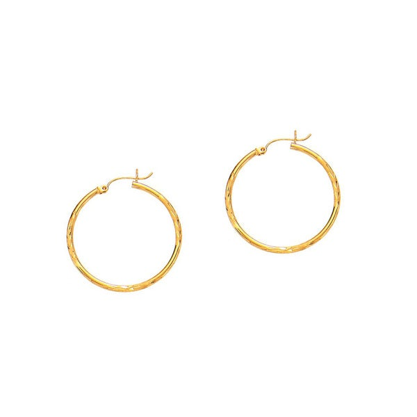 14k Yellow Gold Polish Finished 30mm Diamond Cut Hoop Earrings With Hinge With Notched Closure