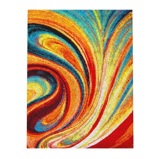 Home Dynamix Splash Collection 211 Multicolored Swirls Area Rug (3'3 x 4'3)