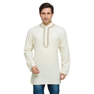 In-Sattva Shatranj Men's Indian Mid-Length Kurta Tunic Fine Embroidered Placket Solid Shirt (India)