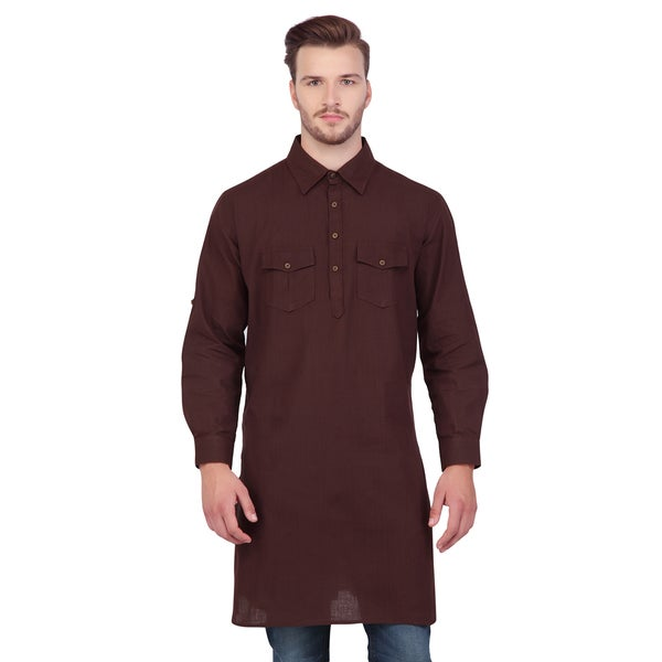 Shatranj Men's Brown Indian Mid-Length Kurta Tunic Banded Collar Two Pocket Shirt (India)