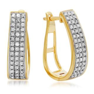18k Yellow Goldplated Silver 1/2ct TDW Round Diamond Hoop Earrings (I-J, I2-I3)
