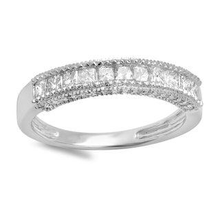 14k White Gold 3/4ct TDW Princess and Round Diamond Anniversary Wedding Ring (H-I, I1-I2)