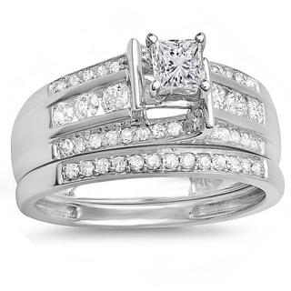 10k White Gold 1ct TDW Princess and Round Diamond Bridal Ring Set (J-K, I1-I2)
