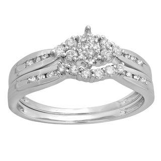 14k White Gold 1/2ct TDW Marquise and Round Diamond Bridal Set (H-I, I1-I2)