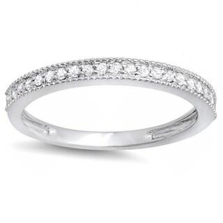 14k White Gold 1/4ct TDW Diamond Milgrain Anniversary Wedding Stackable Band (I-J, I2-I3)