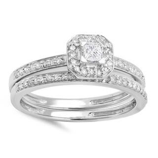 14k White Gold 1/2ct TDW Princess and Round Diamond Halo Engagement Bridal Ring (H-I, I1-I2)