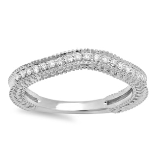 14k White Gold 1/4ct TDW Diamond Millgrain Anniversary Wedding Band Stackable Guard Ring (H-I, I1-I2)