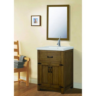 Legion Furniture 24-inch Weathered Light Brown Single Sink Bathroom Vanity with Mirror