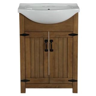 Legion Furniture 24-inch Weathered Light Brown Single Sink Bathroom Vantiy