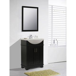 Legion Furniture 24-inch Espresso Single Sink Bathroom Vanity with Mirror