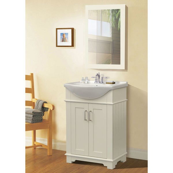 Legion Furniture 24-inch White Single Sink Bathroom Vanity with Mirror