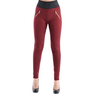 Dinamit Women's High Waisted Elastic Two Zipper Pocket Leggings