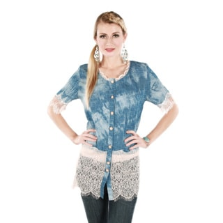Firmiana Women's Short Sleeve Blue and White Lace Button-Up Top