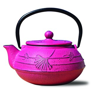 "Fuchsia Cast Iron ""Ginkgo"" Teapot, 22 Oz."