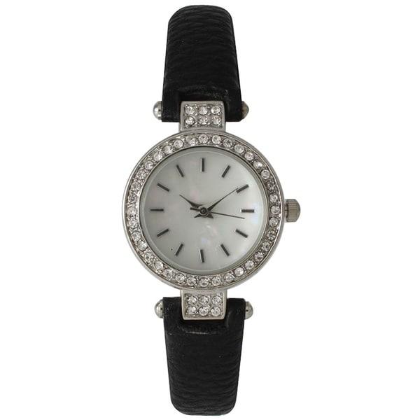 Olivia Pratt Skinny Leather Sparkly Classic Watch