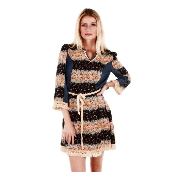 Firmiana Women's 3/4-Length Sleeve Orange Floral Striped Short Dress