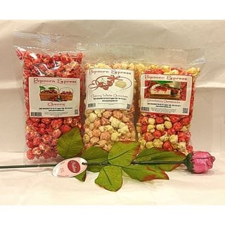 Popcorn Express Love at First Bite Glazed and Chocolate Flavored Popcorn With Chocolate Rose (Pack of 3)