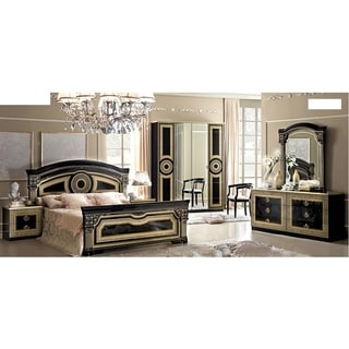 Luca Home Black and Gold Queen Bedroom Set