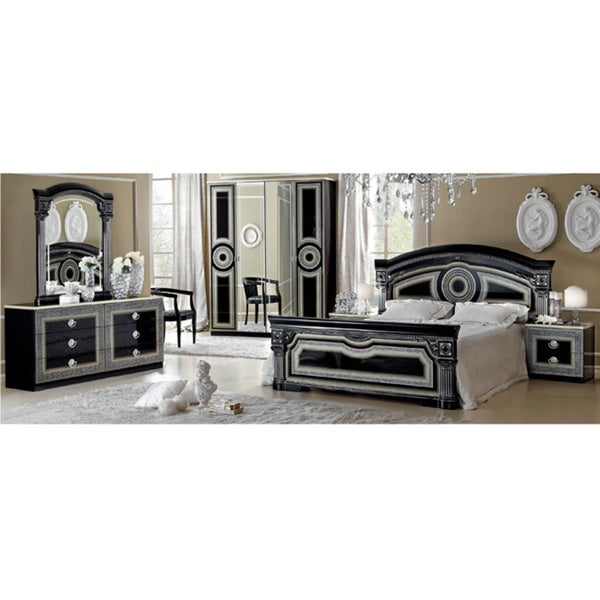 Luca Home Black/ Silver 3-piece Queen Bedroom Set
