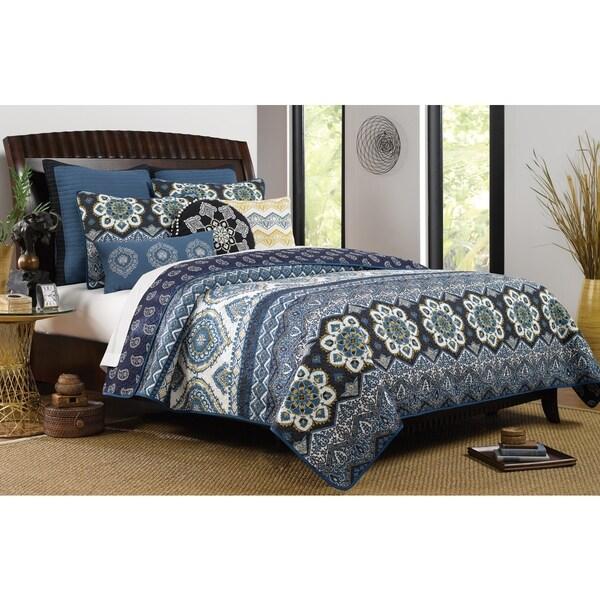 Medina Indigo Reversible Oversized Quilt Set