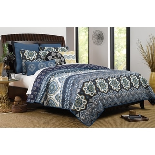 Medina Indigo Reversible Oversized 3-piece Quilt Set