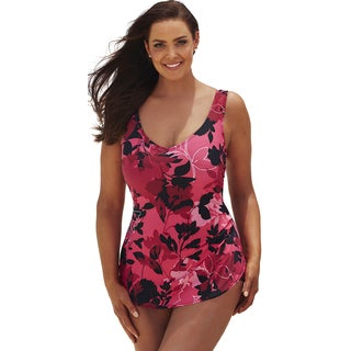 Beach Belle Botanical Sarong Front Swimsuit