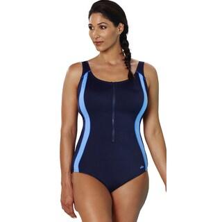 Aquabelle Xtra Life Lycra Cornflower Zip Front Swimsuit