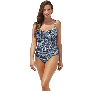 Shore Club Swell Lines Twist-Front Swimsuit