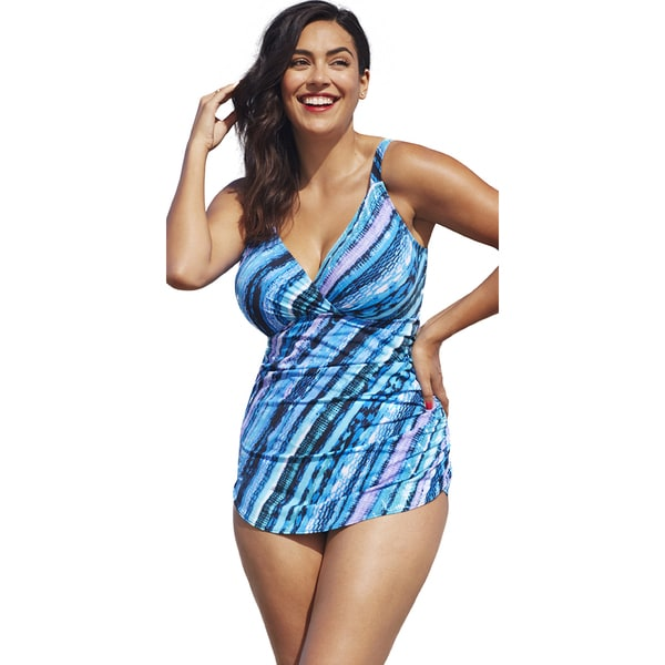 Shore Club Infinite Plunge Sarong Front Swimsuit