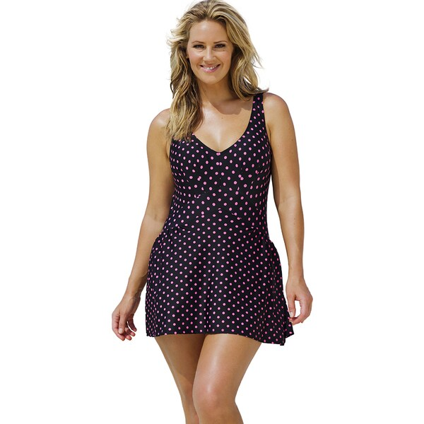 Beach Belle Pink Polka V-Neck Swimdress