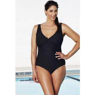 Aquabelle Black Textured Twist-Front Swimsuit