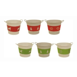 Holiday Trio Metal Pot Cover - Set of 6, 5 in