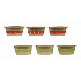 Holiday Trio Double Metal Planter - Set of 6, 6 in