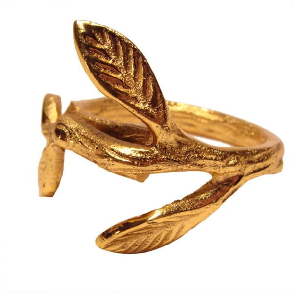 Elegance Luxury Leaf Gold Napkin Rings (Set of 4)