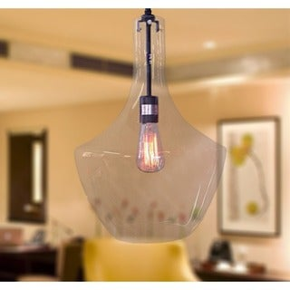 Love 1-light Adjustable Cord Glass Edison Pendant with Bulb