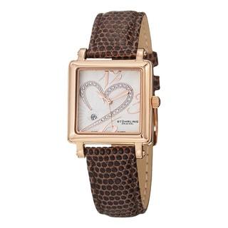 Stuhrling Original Women's Vogue Swiss Quartz Crystal Heart Brown Leather Strap Watch