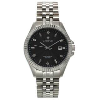 Croton Men's CN307528SSBK Stainless Steel Silvertone Diamond Marker Watch