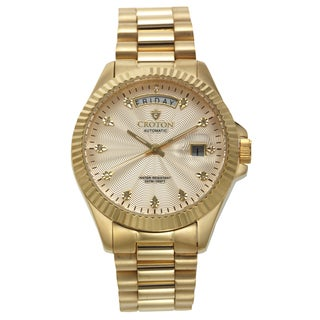 Men's Goldtone Stainless Automatic Watch with Champagne Dial & Diamond Markers