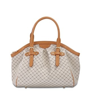 Rioni Signature Natural Ruched Satchel Handbag With Buckle