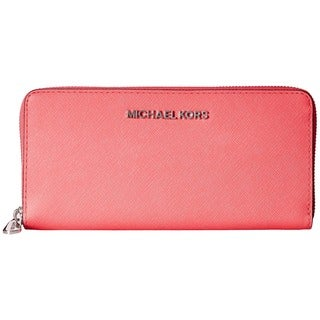 MICHAEL Michael Kors Jet Set Coral Saffiano Travel ZA Continental Wallet