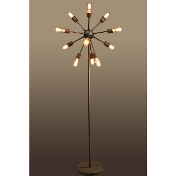 12 light antique bronze 16 inch edison floor lamp with bulbs. Black Bedroom Furniture Sets. Home Design Ideas