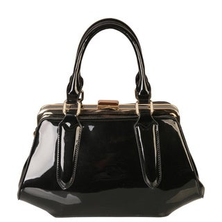 Rimen and Co. Trapezoid Shape Faux Patent Leather Satchel Handbag