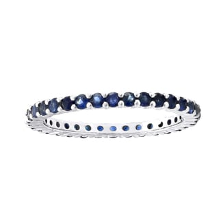 Beverly Hills Charm 10k White Gold 9/10ct Natural Blue Sapphire Stackable Eternity Band Ring